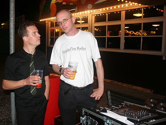 Andy chats with Nikolaj Vinten, Alex Canasta's producer, while DJing in Copenhagen - 22/8/08