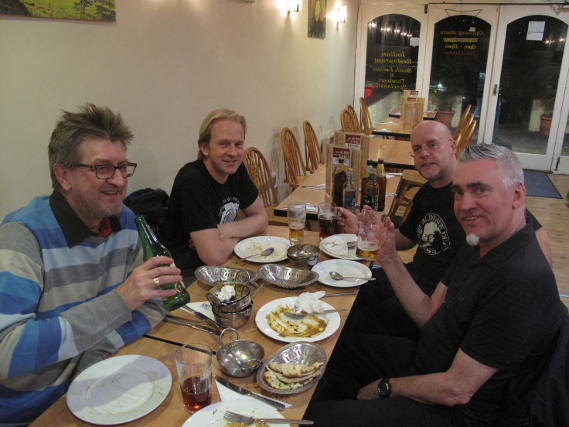 Church of Elvis celebrating recording for Rocker with a curry
